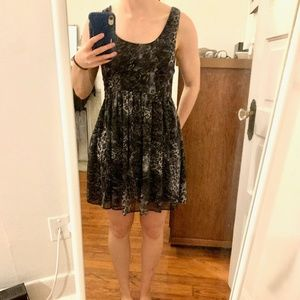 Walter Baker Fit and Flare Blue Cheetah Dress